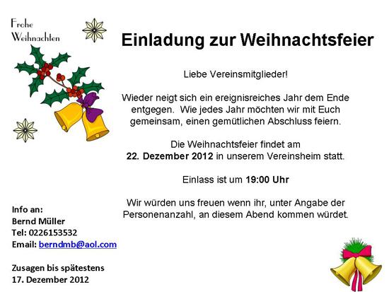 Borussia Derschlag Weihnachtsfeier 2012